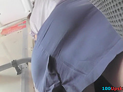 Dirty upskirt video in public filmed by clever voyeur