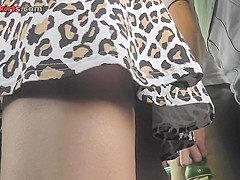 The best upskirt with pretty lassie in sexy mini skirt