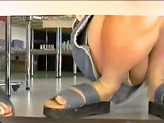 Asian bimbo is sitting on hunkers showing off panty upskirt (74)