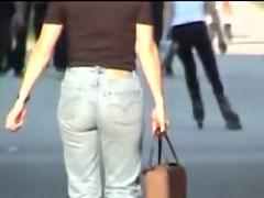 Girl in jeans dress sexy upskirt video of long legs 07ze