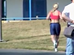 Sweet blonde in candid tight shorts is running so fast 01p