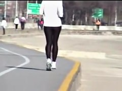 Sports woman running and waving candid ass on my cam 01zb