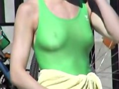 Candid tits of amateur are wrapped into the green swimsuit 03i