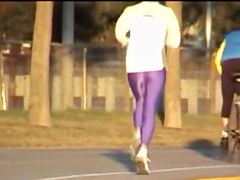 Bright lilac pants on the long legs of candid running babe 03zh