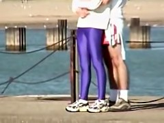 Long legged candid babe voyeured on cam on the quay 03zn