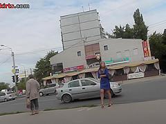G-string wearing blonde filmed in upskirt video clip