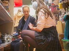 two sexy schoolgirl upskirt later of work