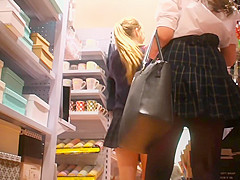 two sexy schoolgirl upskirt later of work