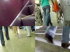 Hot bubble-butt upskirt video of a blonde, in public