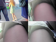 G-string and skinny ass of a redhead in upskirt mov