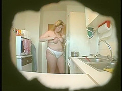 Fat and ugly matured wife changes her clothes in kitchen on spy cam1