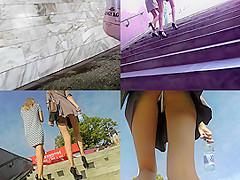 Thong upskirt footage of a slim babe wearing mini skirt