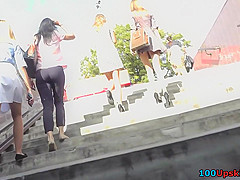 Thong upskirt footage of a slim babe wearing mini skirt