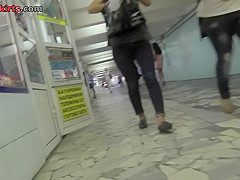 Hot upskirt porn with auburn-hair girl in public