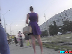 Best upskirt video of a brunette with g-string