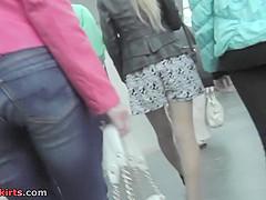 Hot mini skirt on a skinny butt, in accidental upskirt