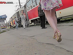 Best upskirt video of a blonde with a tight g-string