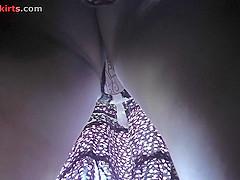 Hottie's g-string seen under a skirt in upskirt mov