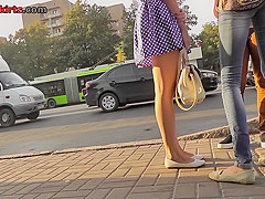 G-string of a sexy lady shown in free upskirt video