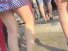 Thong of a foxy chick seen in free upskirt video