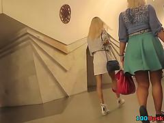 Hot legs of a foxy milf seen in free upskirt video