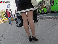 Hot upskirt porn with auburn-haired gal in public