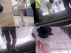 G-string of a sexy minx seen in free upskirt video