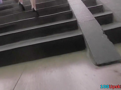 Hot upskirt porn with bubble-butt gal in a public place
