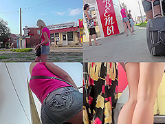 Blonde with bubble ass in a hot upskirt video
