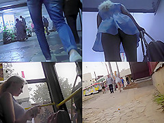 Sexy upskirt porn with amateur blonde in a public place