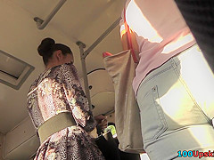 Best upskirt video of a brunette with sheer panties