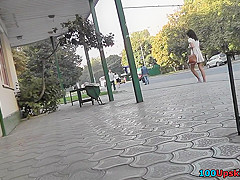 A-line skirt on a skinny butt, in accidental upskirt
