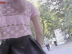 Upskirting vid of an auburn-hair gal in a public place