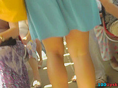 Milf's flabby butt seen in hot upskirts movie