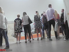 Hot candid upskirt porn with a blonde in a public place