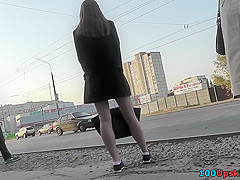 Upskirt porn with amateur auburn-hair gal in public