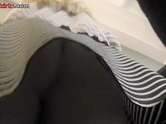 Hot upskirt porn with amateur blonde in a crowded place