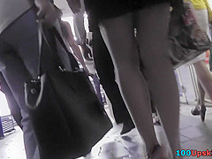 Mini skirt on the flabby ass in accidental upskirt