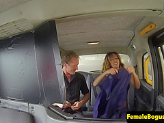 Doggystyled female cabbie sprayed with spunk