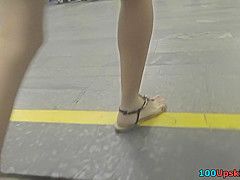 Blonde chick wears mini skirt in upskirting porn