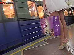Bubble arse under mini skirt in upskirt movie