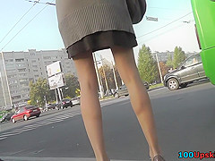 Thong of a long-legged chick seen in free upskirt video