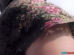 Hot thong of a sexy lady seen in free upskirt video