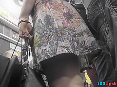 Thong of a sexy brunette seen in free upskirt video