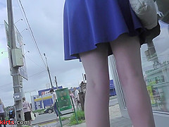 Best upskirt video of a redhead with g-string