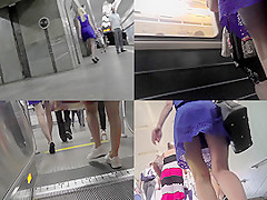 A-line skirt on skinny ass of a blonde in upskirt vid