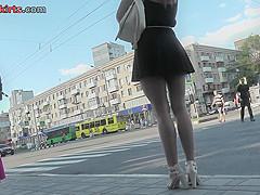 Accidental upskirt shot shows amazing skinny ass