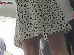 Skirt looks hot on flabby ass in accidental upskirt vid