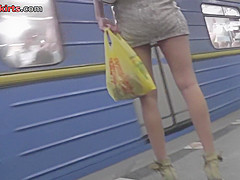 Upskirting thong footage of a brunette in mini skirt