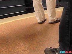 Hot upskirt porn with amateur hottie in a public place